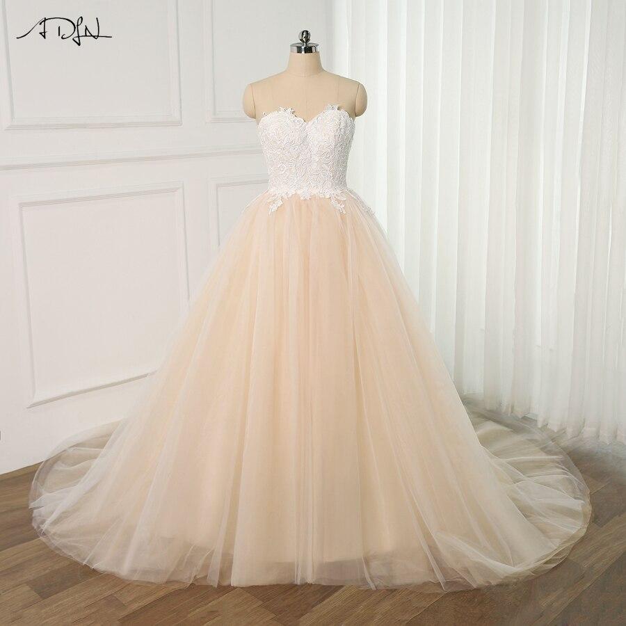 ADLN Charming Sweetheart Sleeveless Ball Gown Wedding Dress for Bride 2019 Applique Tulle Bridal Gown Vestido De Noiva