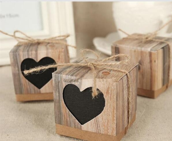 500 Pcs Wedding Bonbonniere Love Rustic Kraft Candy Boxes With