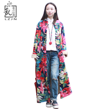 LZJN 2017 Wintermantel Frauen Blumen Trenchcoat Imitiert Lammwolle Windjacke Weibliche Mäntel Vintage Fleece Trenchcoat 15220(China)