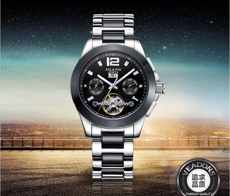 Brand Classic Multi-functional Designer Men Tourbillon Mechanical Watches Calendar Week Business Dress Wrist watch Relojes W014 цена и фото