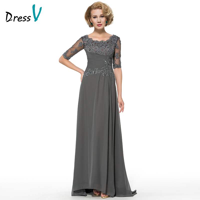Elegent Long Dark Grey Lace Mother Of The Bride Dresses With Half Sleeves A Line Chiffon