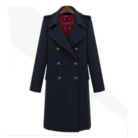 Fashion Double Breasted Long Coat Women Faux Cashmere Overcoat Thick Jacket Windbreaker Wool Winter Brand Clothing