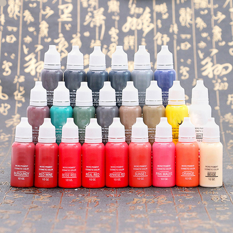15ml MICROBLADING 23 Colors Cosmetic Pigment Color Tattoo Ink Permanent Makeup Supplies Eyebrow Lip Tattoo Supplies15ml MICROBLADING 23 Colors Cosmetic Pigment Color Tattoo Ink Permanent Makeup Supplies Eyebrow Lip Tattoo Supplies