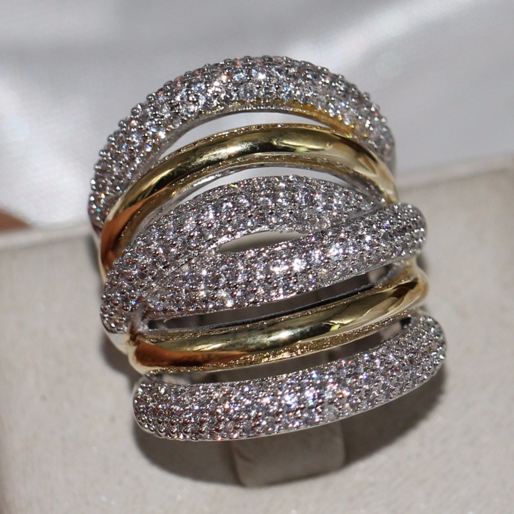 2018 New Brand Vintage Jewelry 14KT White Gold Filled Pave Setting CLear 5A Zirconia Party Women