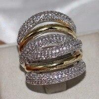 2018 новый бренд Винтаж Jewelry 14kt белый и золотой заполнены проложить Установка ясно 5A циркония вечерние Для женщин обручальное широкий палец к