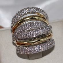 2018 New Brand Vintage Jewelry 14KT White&Gold Filled Pave Setting CLear 5A Zirconia Party Women Wedding Band Wide Finger Ring new arrivals vintage round 5 5mm semi mount ring in 14kt white gold diamond engagement setting ring for sale ywr00103