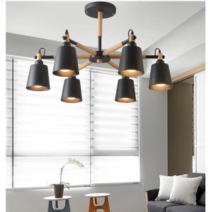 Image 5 - Lustre en bois massif et en fer, design moderne, éclairage dintérieur, luminaire décoratif De plafond, idéal pour un salon, LED