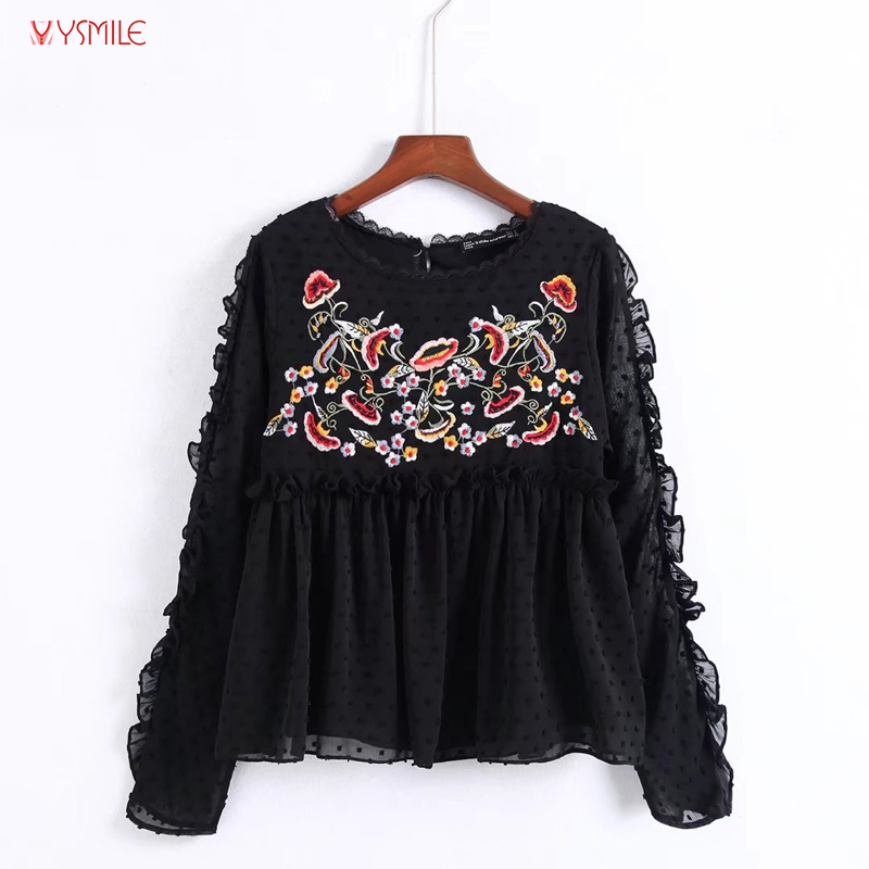 YSMILE Y Casual Beauty Chiffon Blouse O Neck Long Sleeve With Ruffles Floral Embroidery Blause HY919