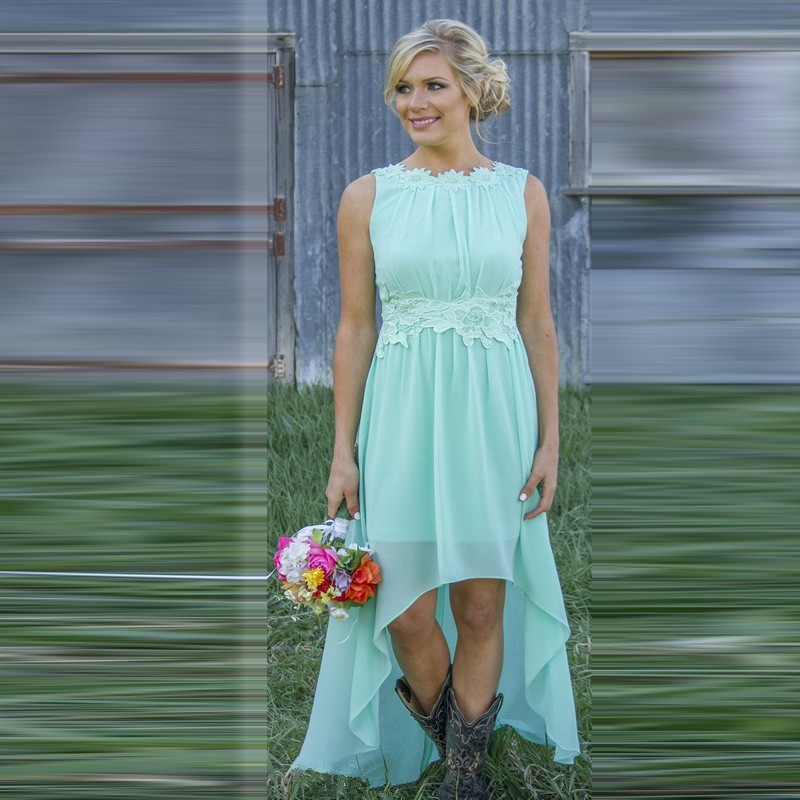 Mint Green Bridesmaid Dresses Short Front Long Back Custom Size Boat ...
