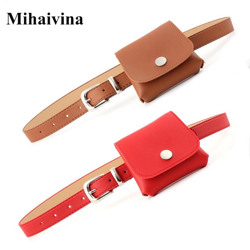 Mihaivina 2018 Fanny Packs For Women Belt Bag Leather Waist Bag Fashion Women's Pure Color PU Messenger Shoulder Mini Bum Bags