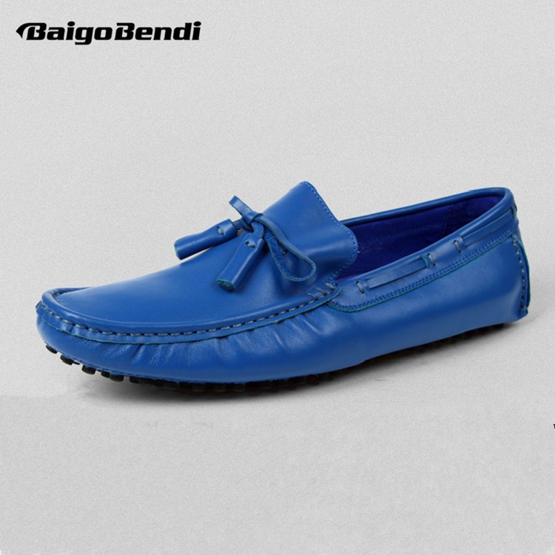 US 6-10 Royal Blue Soft Genuine Leather Casual Slip On Tassel Driving Loafer fashion Mens Boat Shoes Orange Man Summer Shoes hight quality men soft genuine leather buckle loafer slip on driving car shoes moccasin bussiness man office shoes