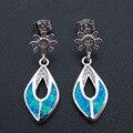 New High Quality 100% 925 Sterling Silver Blue Fire Opal Drop Earrings long Dangle Party Earrings Jewelry for women