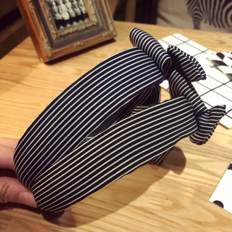 Купить с кэшбэком Hot Sale Fabric Sweet Hair Bands Charm Cute Big Ribbon Bow Multi-Color Striped Lattice Dot Wide Headband