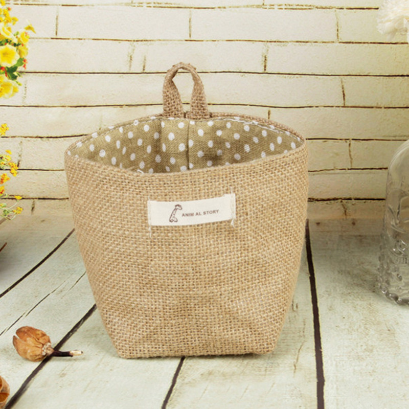Image 3 - 2019 New Organizador Cotton Storage Bag Linen Flower Pot Organizer Small Sack Hanging Jute Dot Striped Storage Basket Box-in Foldable Storage Bags from Home & Garden