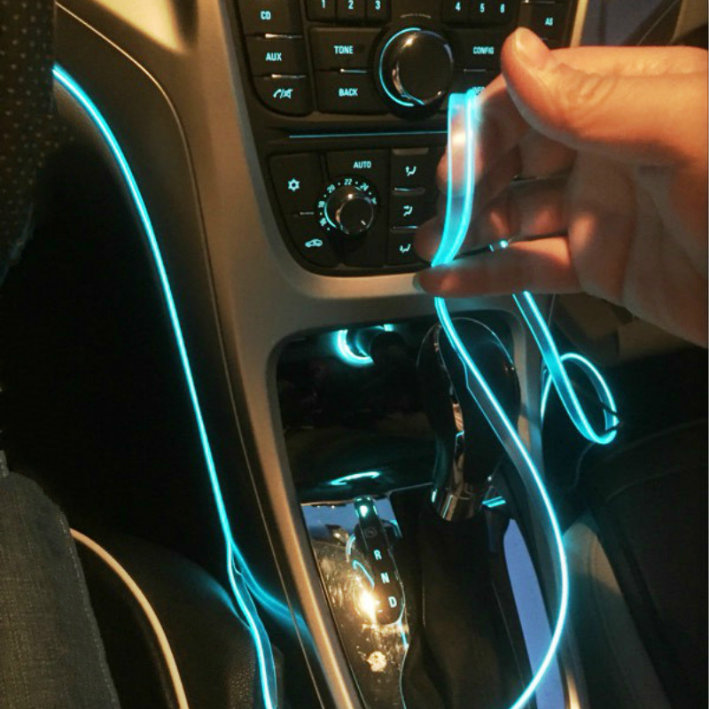 Car Interior Lamp Neon Strip led El Cold Light sticker For BMW E46 E39 E90 E60 E36 F30 title=