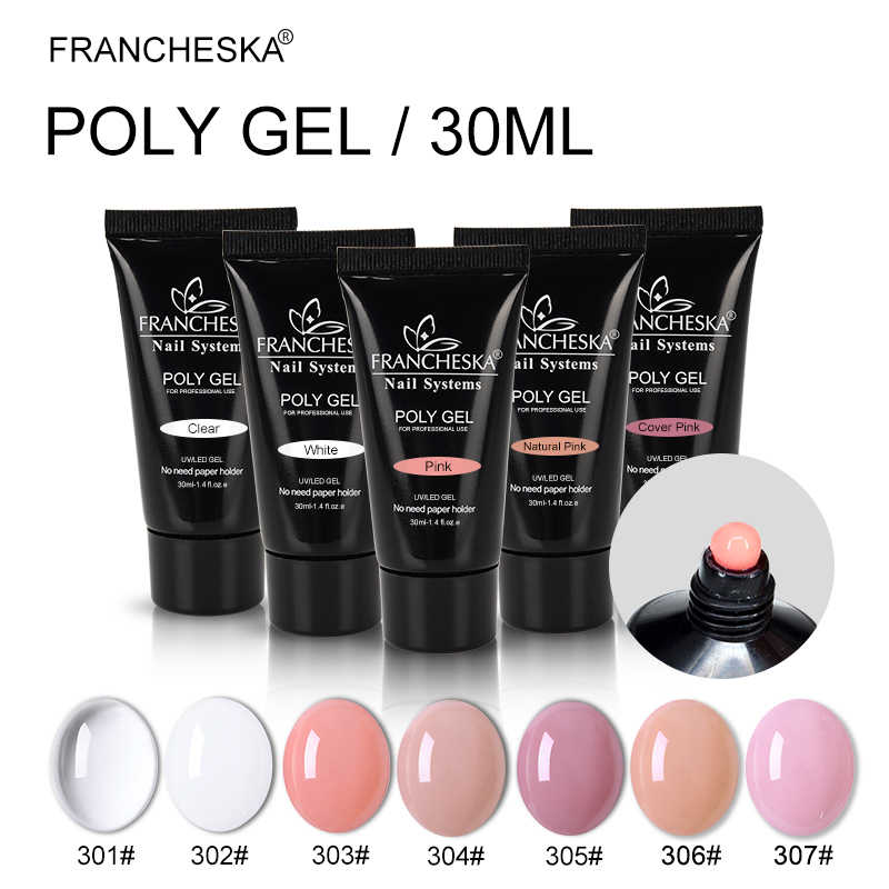 HOT KOOP poly gel 100% real polygel jelly builder vinger Extension UV LED gel nagellak vernis poli gel roze white clear 30g