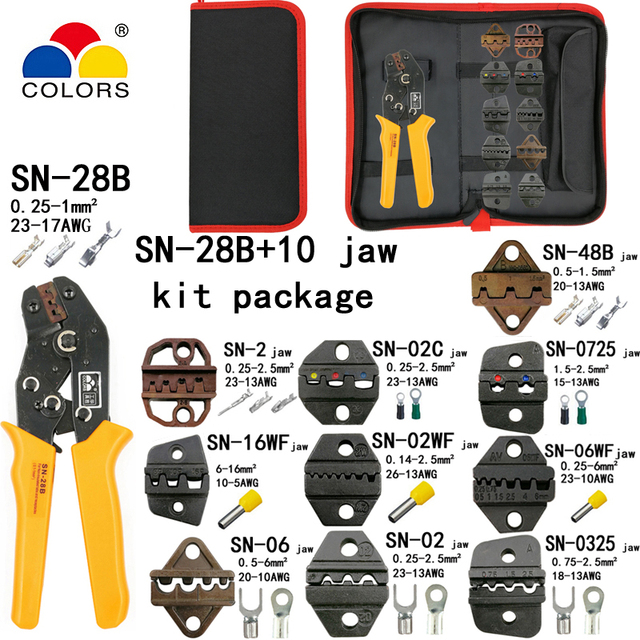 SN-28B crimping pliers 10 jaws for TAB 2.8 4.8 6.3/C3 XH2.54 3.96 2510/tube/non insuated terminals electrical clamp kit tools