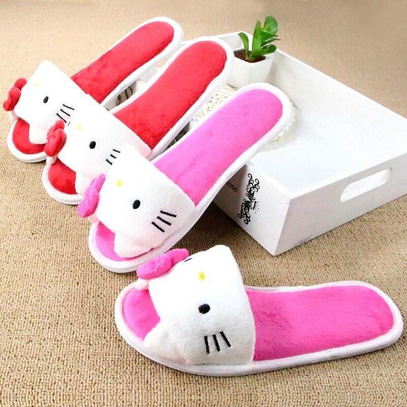 sezione speciale goditi il prezzo più basso up-to-date styling Soft Plush Bow Hello Kitty Pink Slippers Women Men Shoes ...