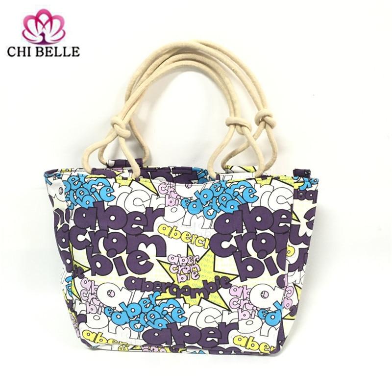 Volný čas Dopis Vzor Canvas Ženy Kabelka Velkokapacitní Tote Tisk Lady Beach Bag Nákupní Wrist Bag