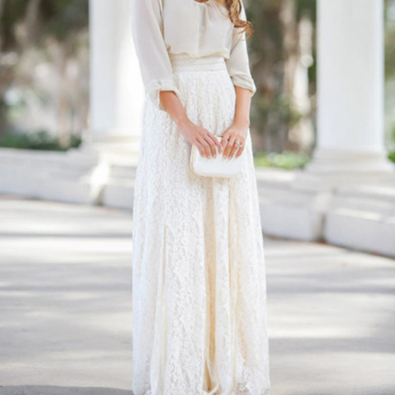 2018 Fashion Lace White Long Skirts Women Hollow Out Maxi High Skirt Femme Falda Casual Ladies Elastic Party