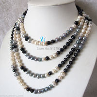 Wholesale FREE P&P>>>>>90 7 8mm Multi Color Freshwater Pearl Necklace White gray Black