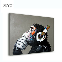 Boy or girl monkey cartoon oil painting on canvas abstract animal wall art for home decoration.jpg 250x250