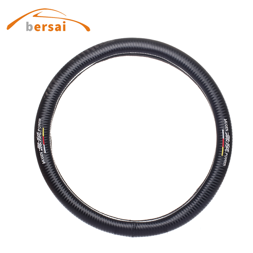 Carbon fiber car steering wheel cover High quality Car styling for MUGEN power for honda URV CRV Z R Civic interior accessories car styling for honda civic fd 2006 carbon fiber steering wheel cover glossy fibre interior bearing circle racing auto body kit