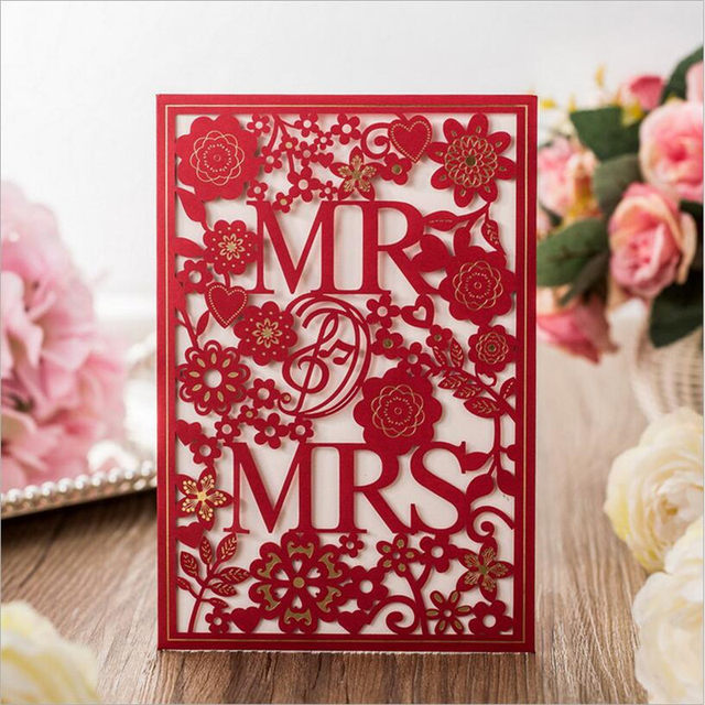 50 sets pintable wedding invitations cards christmas wedding decoration laser cut mrmrs mariage cards envelopes inner cards