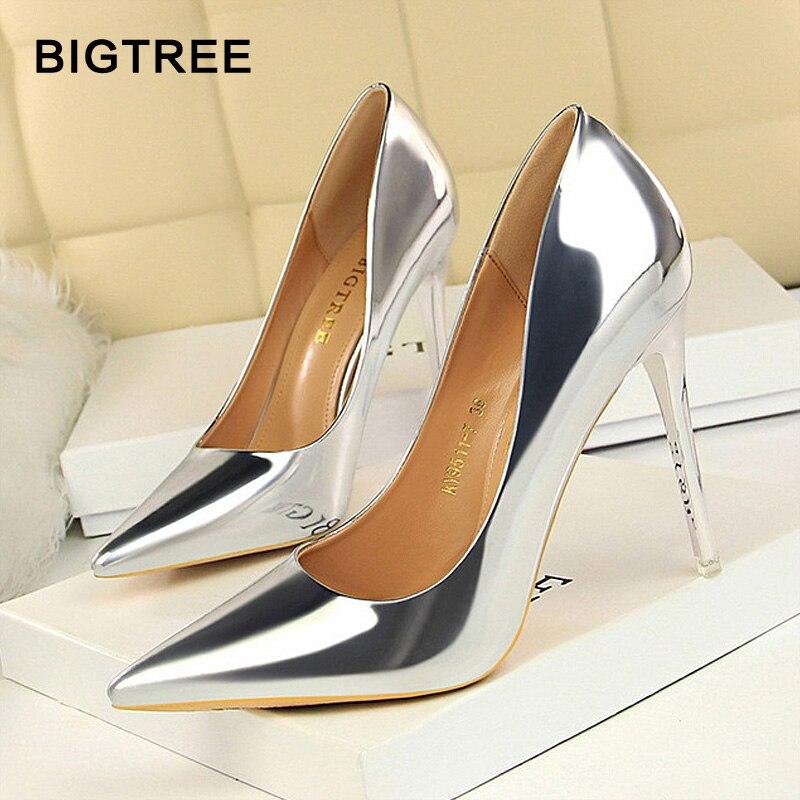 Big Tree zapatos nuevos zapatos de cuero de patente Wonen bombas OFICINA DE MODA zapatos de mujer Sexy tacones altos zapatos de mujer zapatos de boda zapatos de fiesta