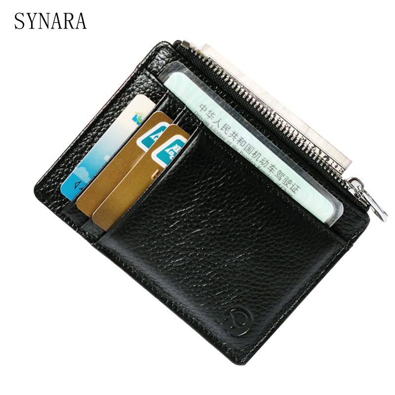 цена Hot Sale Genuine Leather Thin Card Case Mens Card Holder Purse Slim Wallet Men Cowhide Leather Mini Coin Pocket Black