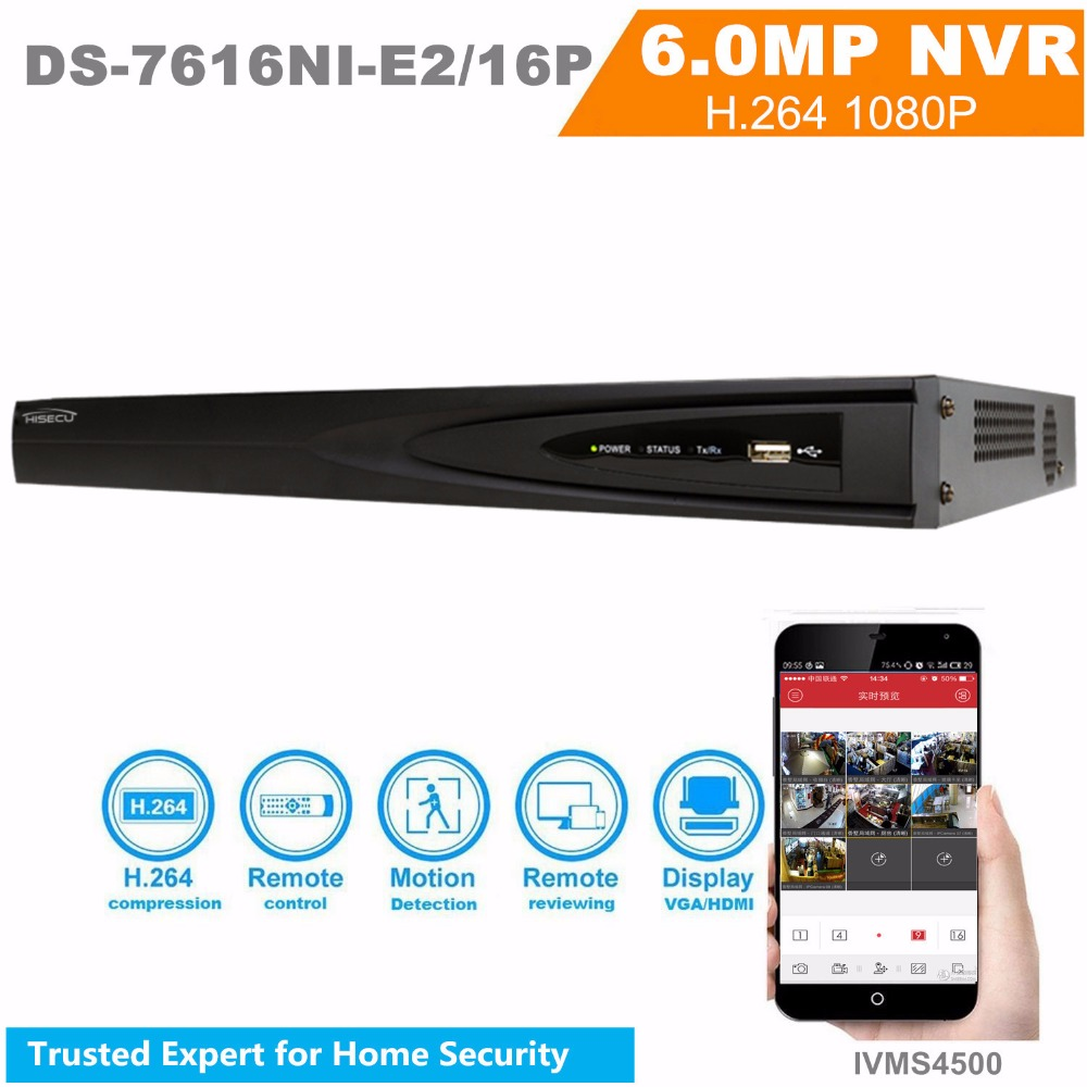 English Version NVR DS-7616NI-E2/16P NVR 16CH 16POE 2SATA Network Interfaces Case NVR Onvif  HD 1080P CCTV System HDMI And VGA 16ch poe nvr 1080p 1 5u onvif poe network 16poe port recording hdmi vga p2p pc