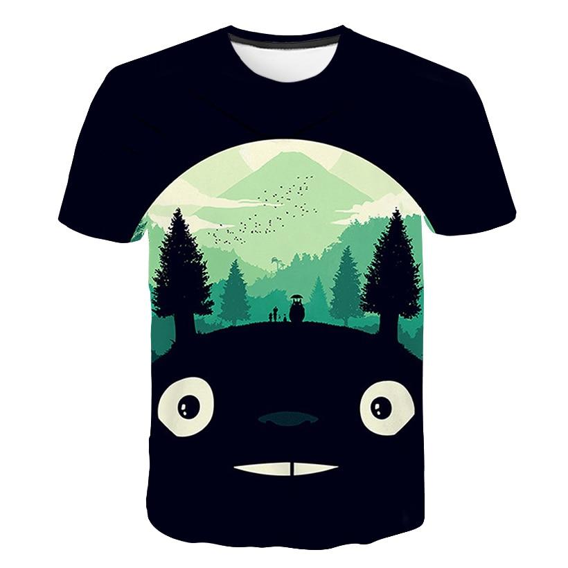 Print Spirited away Japanese Anime T-shirt Unisex Short sleeve O-Neck Howl's Moving Castle Casual Miyazaki Hayao Totoro T shirt