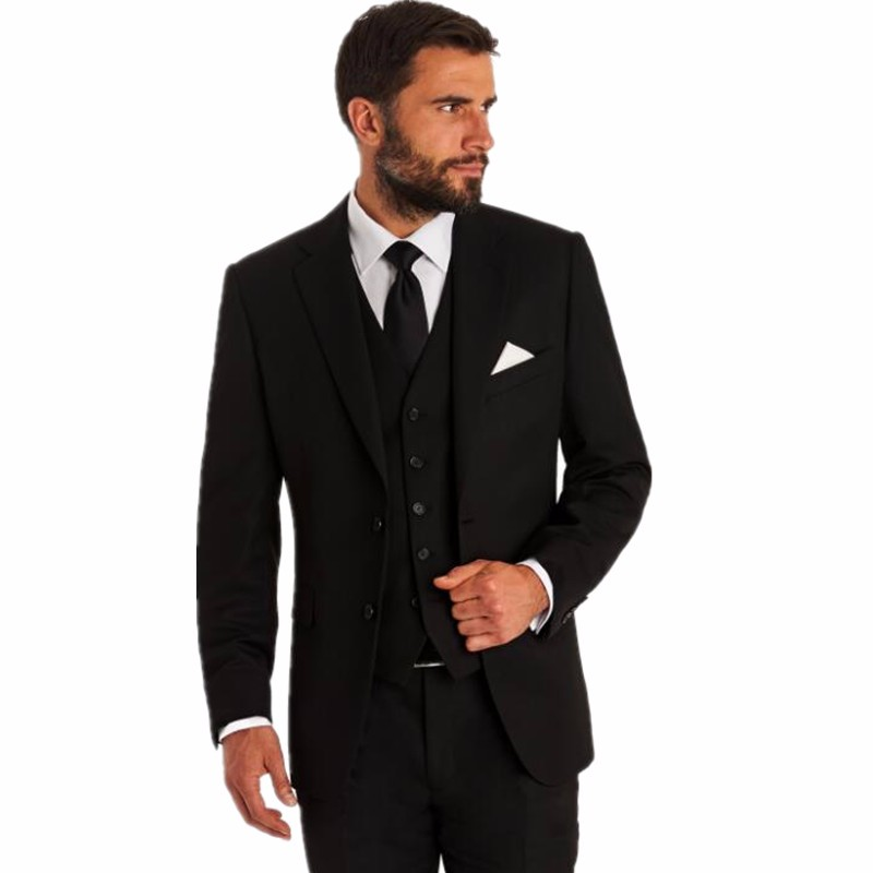 Cheap Dark Grey Black Men Suits Groom Tuxedos Wedding Suits for ...