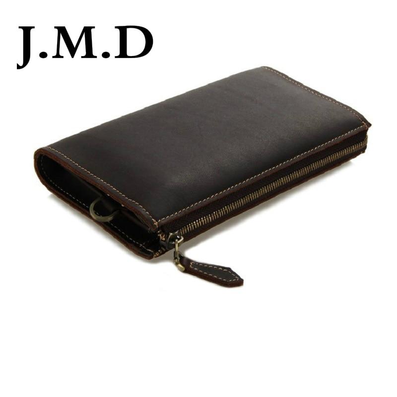 60a73eb323 J.m.d 2017 nova chegada 100% carteira de couro clássica marrom escuro mini  carteira saco de mão dos homens da bolsa 8045