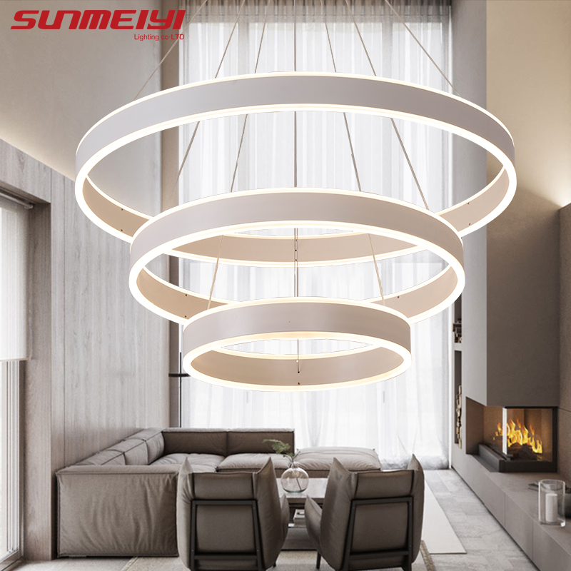 새로운 현대 3 원 링 LED 펜던트 조명 거실 식당 LED - 실내 조명 - 사진 3