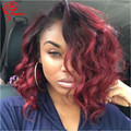 Dark Roots 99J Red Ombre Short Lace Front Wigs Human Hair Body Wave Full Lace Human Hair Wigs Red Ombre Lace Wigs With Baby Hair