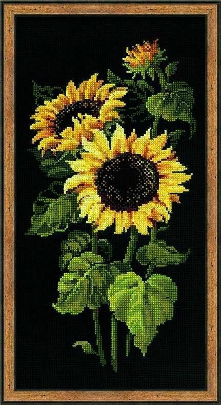 Sunflower Cross Stitch Package Plant Sets Aida   Black Cloth People Kit Embroidery DIY Handmade Needlework