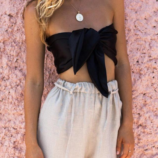 2c7eadcb464e0 Women Sexy off shoulder Strapless Tank Tops Summer Beach Bow Casual Female  Short Crop Tops Camis Feminino