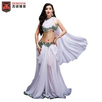New Women Luxury Belly Dance Costumes Professional Halloween Christmas Party Dancing Wear 2 Pcs Set Bellydance Outfit Bra+Skir