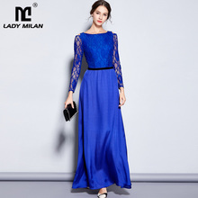 Lady Milan Womens Party Prom O Neck Sexy Keyhole Embroidery Lace Long Sleeves Elegant Maxi Formal Runway Dresses