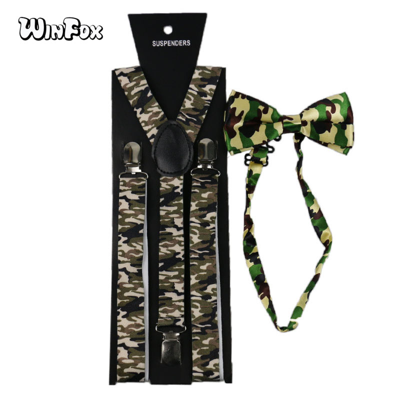 Winfox Vintage Men Military Suspenders Bowtie Women Wide 2.5cm Camouflage Suspender Bow Tie Set Brace Tactical Suspensorio