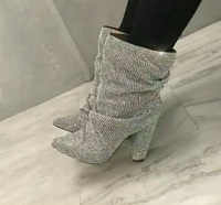 Luxury Crystal Embellished Ankle Boot Women Chunky Heels Pointed Toe Ridding Botas Fashion Runway Rhinestone Short Boots