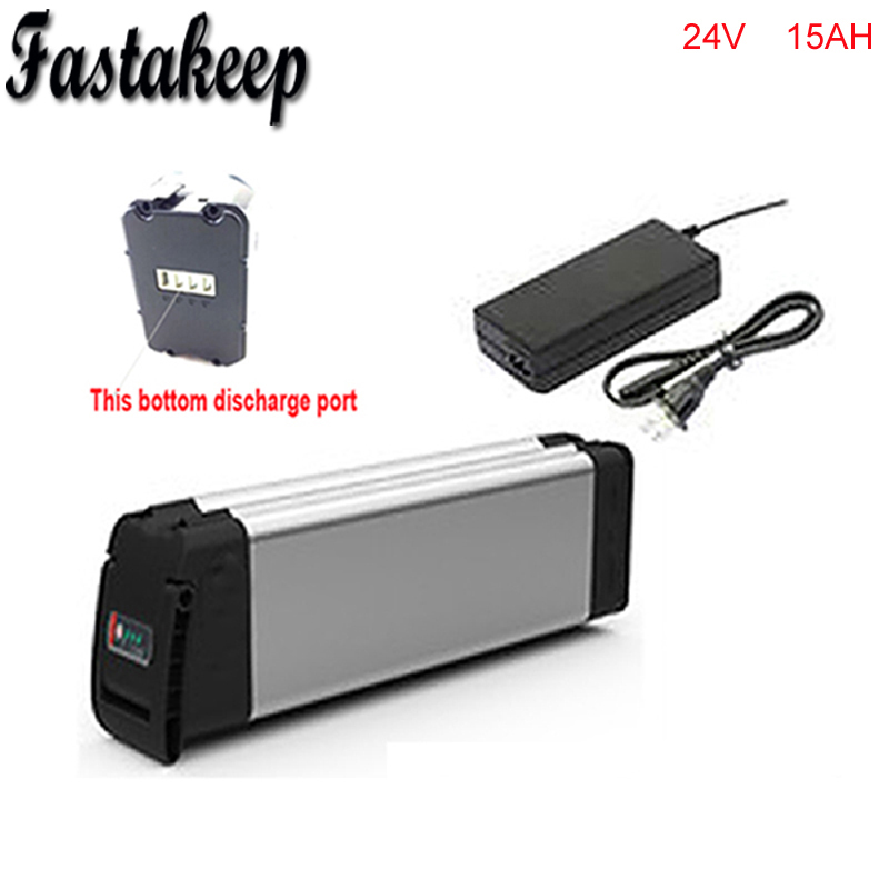 Bottom discharge 24v 15ah lithium ion ebike battery aluminium case bicycle electric bike battery 24v 350w with charger kit 24v 15ah battery pack lithium li ion 24v lithium bms electric bike battery 24v 500w e bike 15ah motor 24v 350w 2a charger