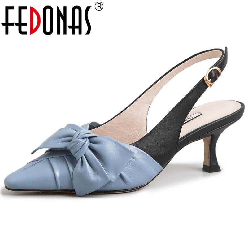 FEDONAS Fashion Women Pumps Night Club Shoes New High Quality Genuine Leather Butterfly Knot Shoes Woman