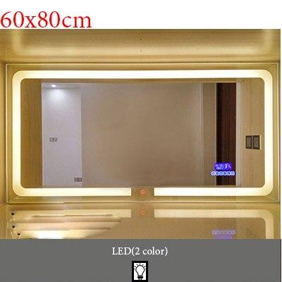 Умный светодиодный Зеркало для туалетной комнаты, анти-туман, сенсорный экран, настенное зеркало для макияжа, 700*900 мм, прямоугольные зеркальные зеркала с Bluetooth и музыкой - Цвет: M022A-600x800mm