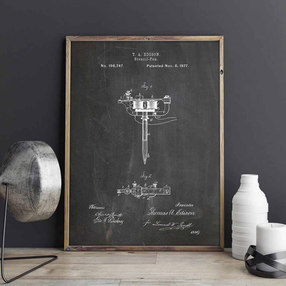 Tattoo Machine patent, Stencil Pen wall art, Tattoo Parlor posters, decor, vintage print, blauwdruk, idee, wanddecoraties