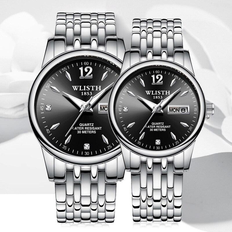 Fashion Couple Quartz Watch Stainless Steel Strap Luminous Display Week Date Waterproof Business Casual Men Women Wrist Clock