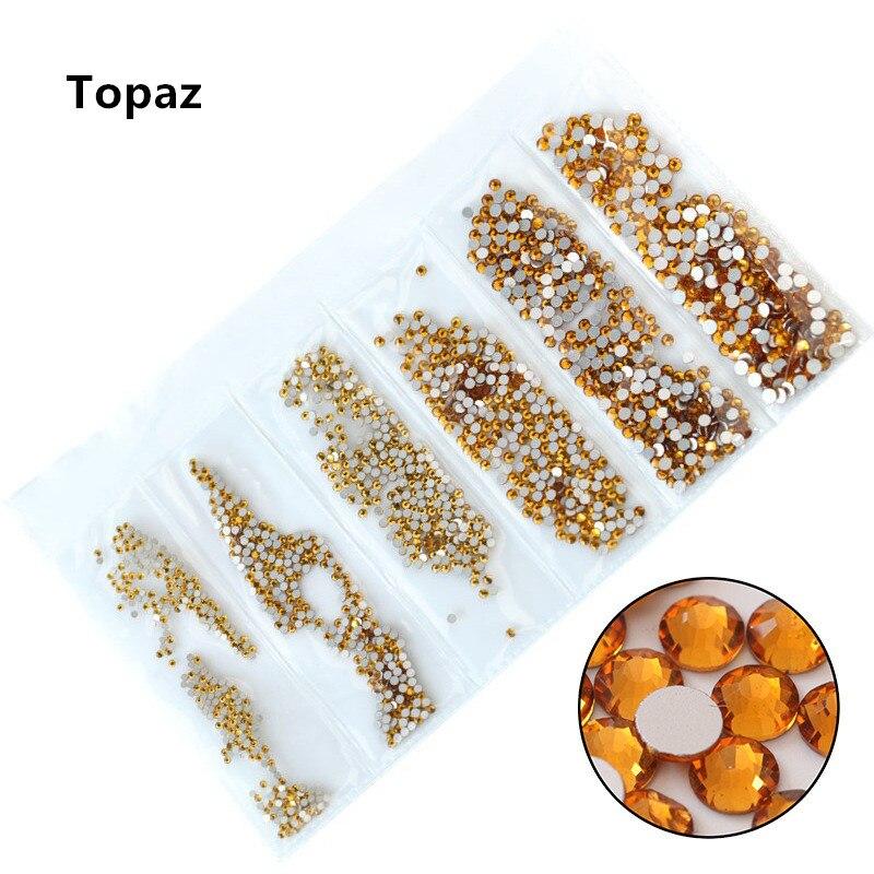 31 цвет, SS3-SS10, разные размеры, Хрустальные стеклянные стразы для дизайна ногтей, для 3D дизайна ногтей, стразы, украшения, драгоценные камни - Цвет: Topaz