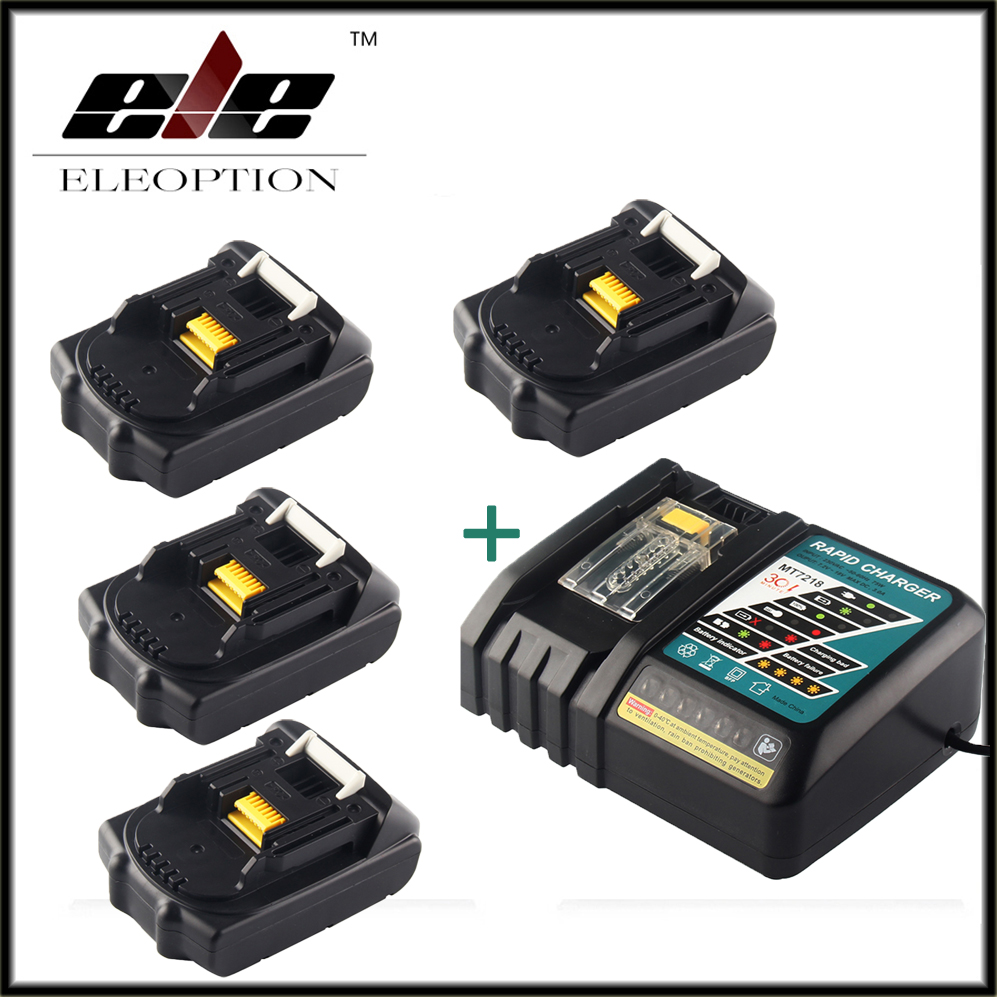 4x Eleoption 18V 2000mAh Li-ion Replacement Power Tool Battery For MAKITA 194205-3 194309-1 BL1815 + 1x 7.2V-18V Charger набор bosch ножовка gsa 18v 32 0 601 6a8 102 адаптер gaa 18v 24