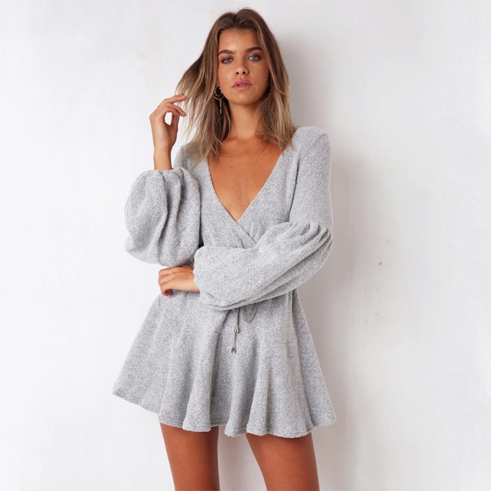 728d51d575151 Detail Feedback Questions about New Arrival Autumn Winter Short Dress  Homewear wrap dress Casual Women V Neck Puff Sleeve Lace up Swing Skater  Dress on ...